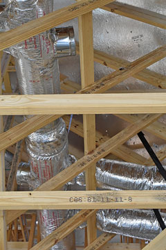 hvac ducts in an unfinished attic